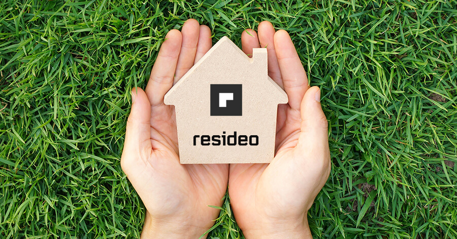 Holding a Resideo's logo