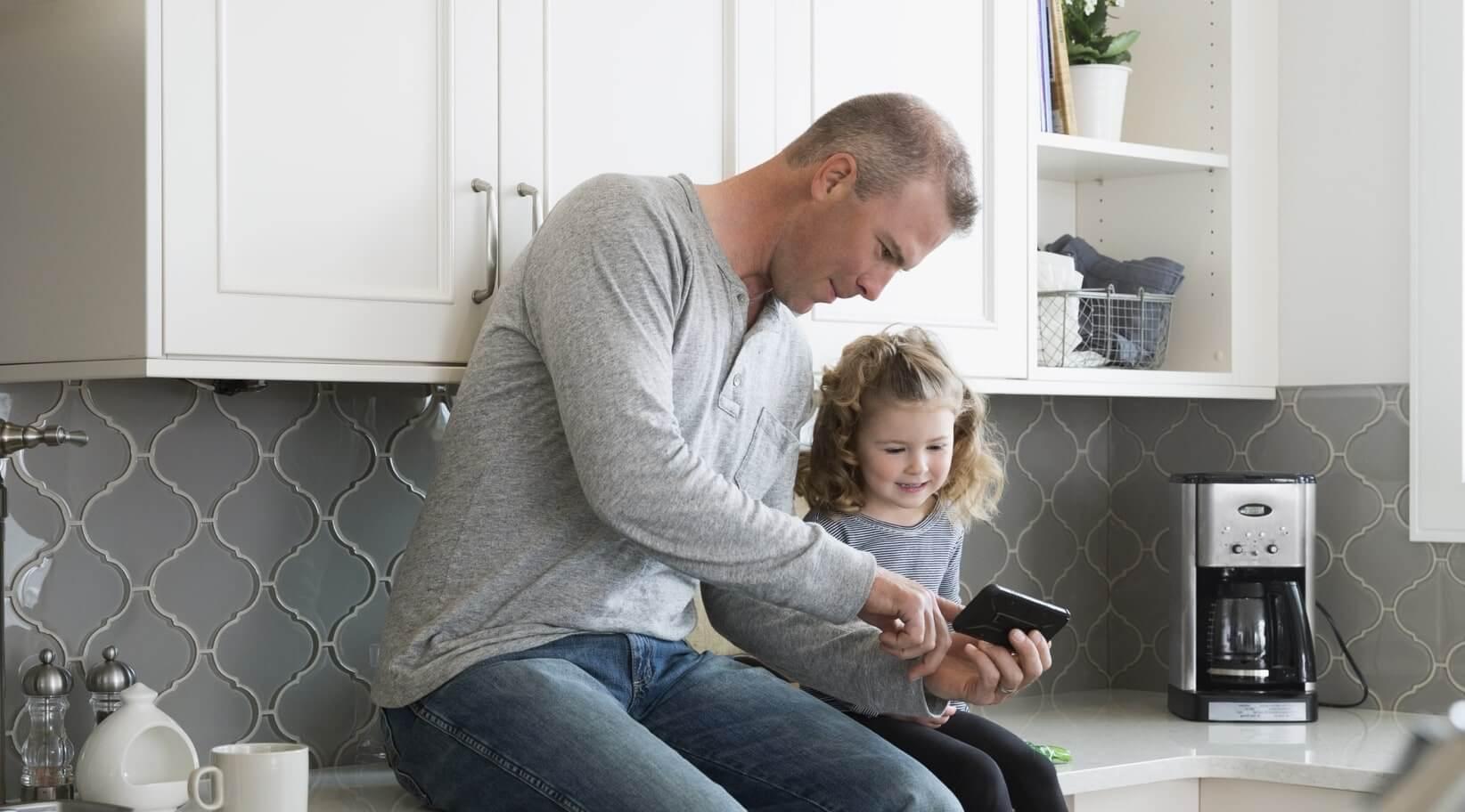 Father and child enjoying comfortable smart home