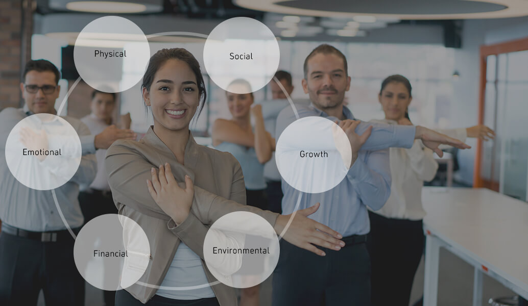 Photo of employees in an office setting doing an arm stretch together. There's an overlay graphic design of a large circle containing six smaller circles with the names of Whole Person Wellness categories: Physical, Social, Growth, Emotional, Financial and Environmental.