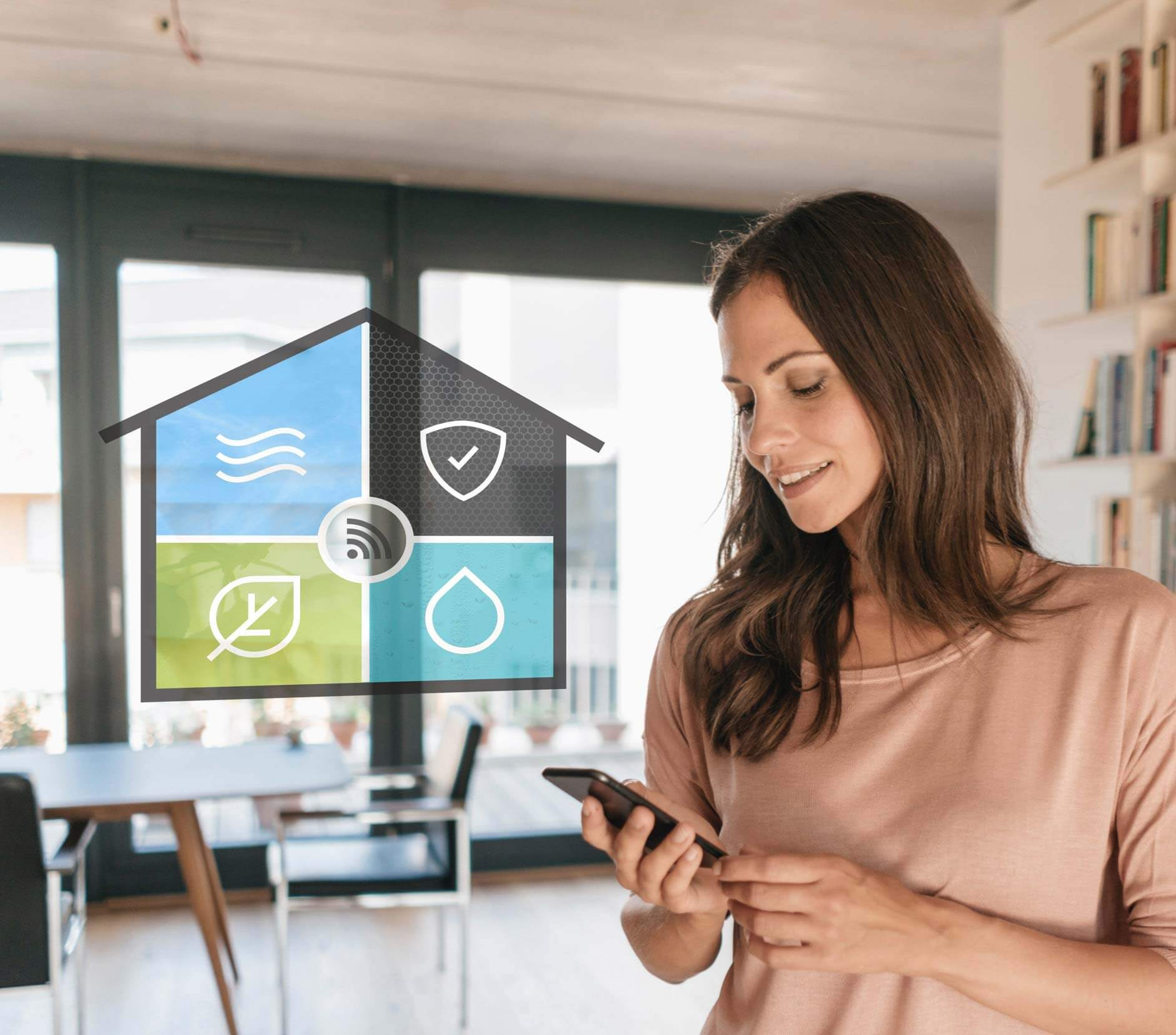 Woman monitoring smart home - Resideo smart home solutions
