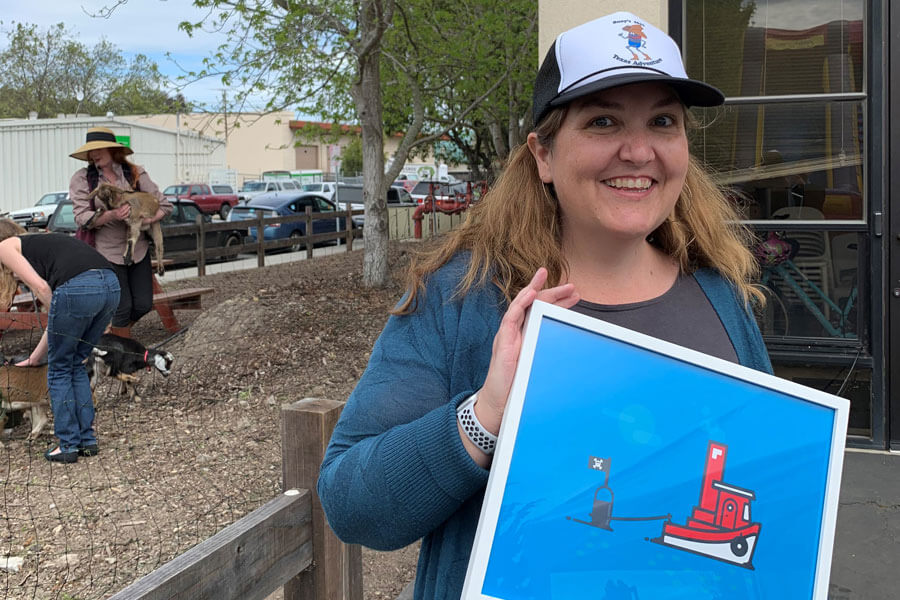 """Pirate"" Keri Waters at the Buoy acquisition party, Spring 2019."