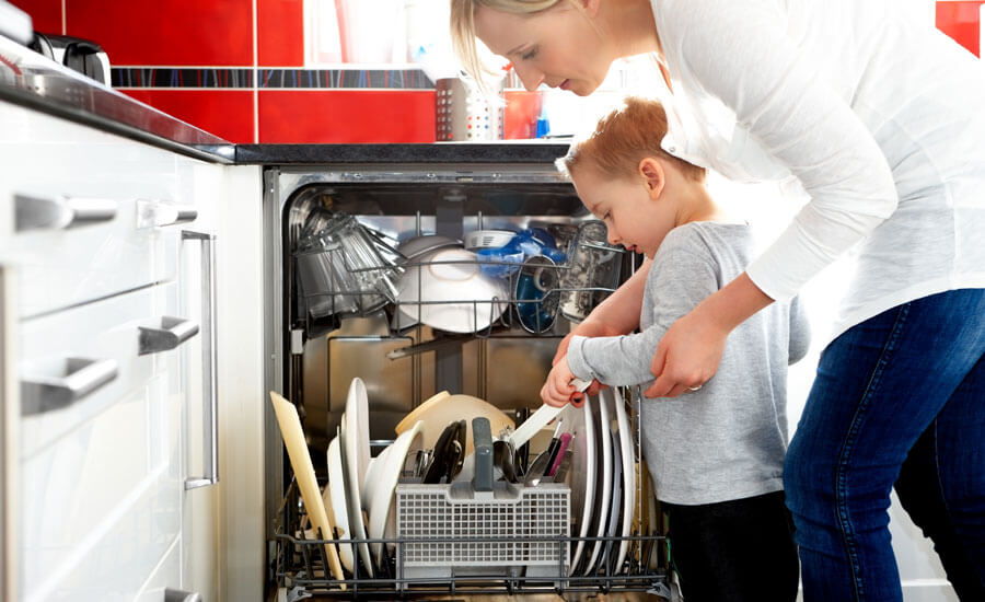 Run a full dishwasher rather than handwashing dishes throughout the day, which uses fewer gallons of water.