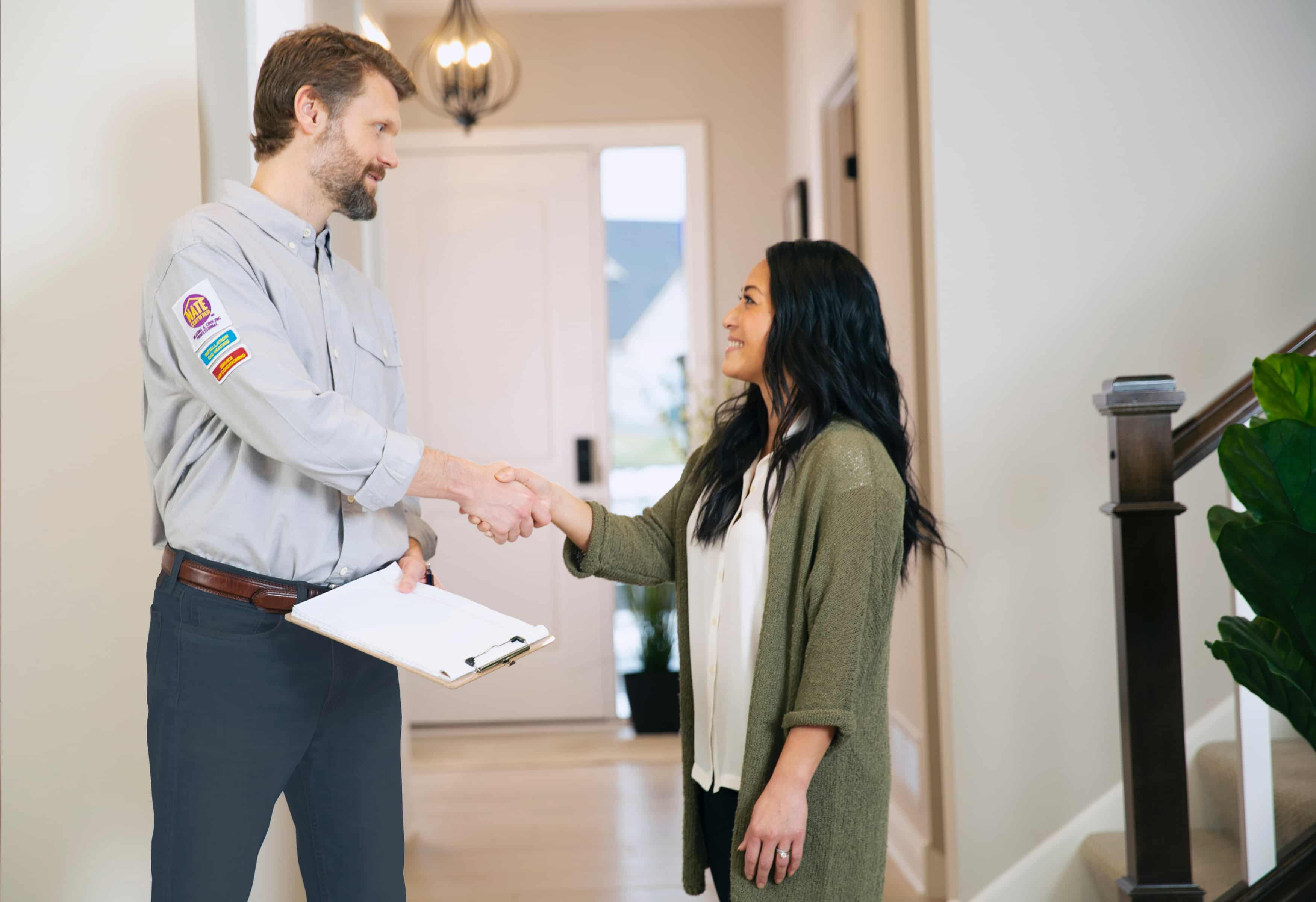 Contractor giving smart home security control to customer