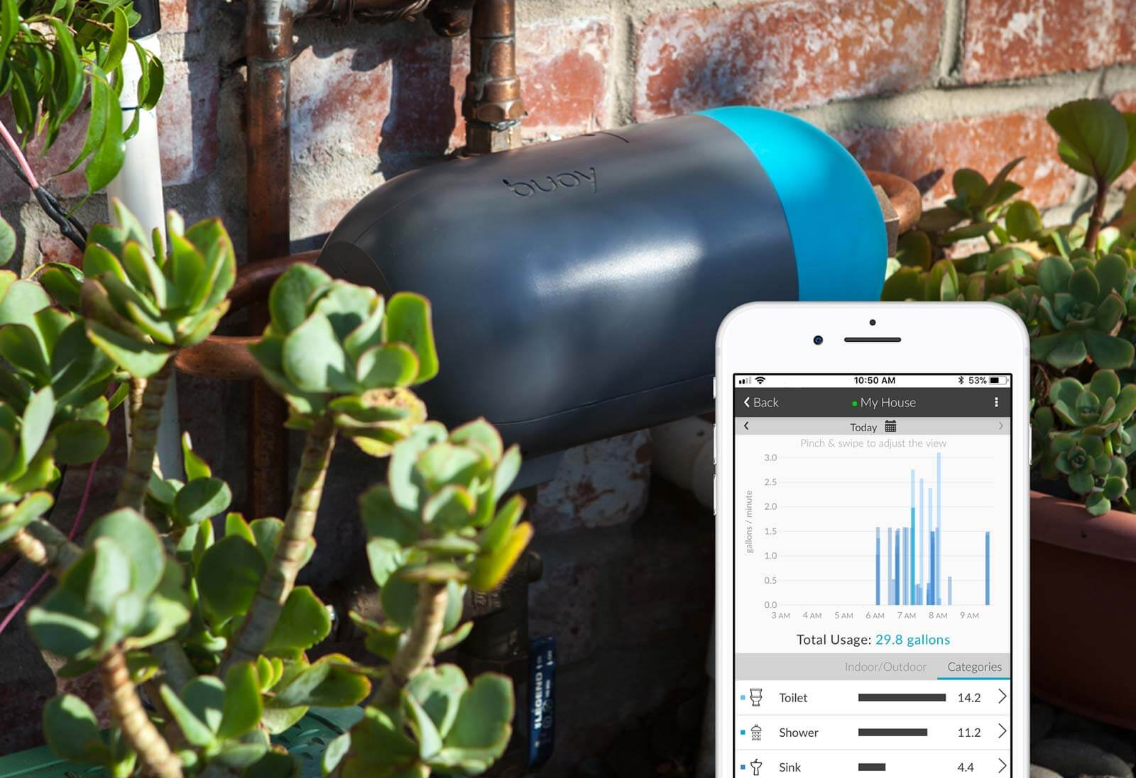 The Resideo's Buoy® connected water monitoring system outside