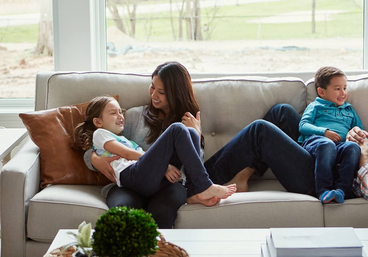 Family with smart home security solutions