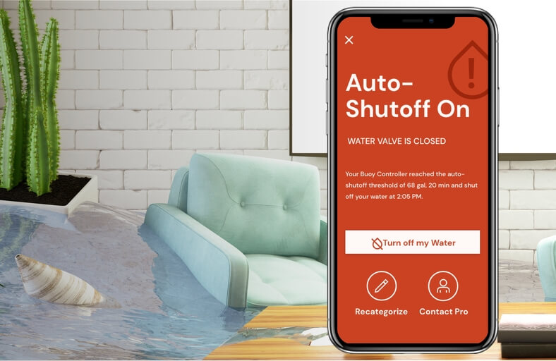Resideo Home app shut-off mobile screen